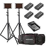 Neewer 2-Pack Bi-Farbe Dimmbares 280 LED Videolicht und Standbeleuchtung Kit mit Akku, USB-Ladegerät und Tragetasche - 3200-5600K, CRI 95+ LED-Panel für Kamera Fotostudio, YouTube Video Aufnahme