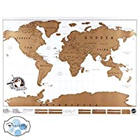 Scratch Off World Map Poster,Tracks Your Adventures. Scratcher Included, Perfect Gift for Travelers, By Beauenty (YELLOW)