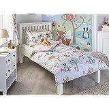 Woodland animaux Junior Parure de lit avec housse de couette et taie d'oreiller Parure de lit pour enfant de lit pour enfant Renard écureuil, crème