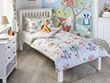 "Woodland Kids Animals Single Duvet Set - 1 x Pillowcase Included - Cream and Green - Reversible - Machine Washable - 137 x 200cm (54"" x 79"" inches) - Made by Riva Paoletti - Designed in the UK"