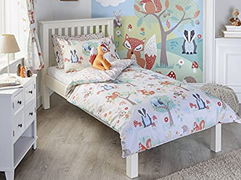 Woodland Animals Single Quilt Duvet Cover and Pillowcase Bedding Bed Set Kids Fox Squirrel New, Cream