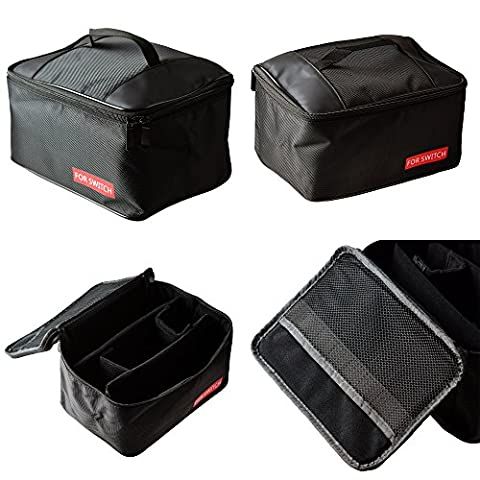 Mcbazel Sac de rangement portatif, Carry-All Nylon Protective Travel Zipper Case Sac de voyage pour console Nintendo Accessoires et accessoires (Noir)