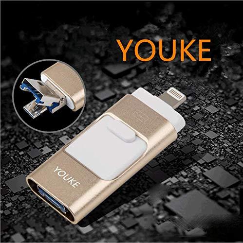 USB-Sticks U-Disk, Externe 32GB-Stickspeicher, 3 in 1 Jump Drive Memory Stick, mit USB Micro USB Blitzanschluss für iPhone iPad iOS Android PC(Golden) 6 Gb Ipod Touch