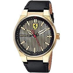 Ferrari Men's 'SPECIALE 3H' Quartz Gold-Tone and Leather Casual Watch, Color:Black (Model: 0830415)