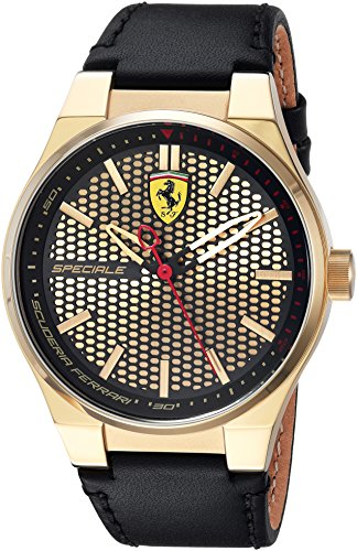 Scuderia Ferrari Men's 'SPECIALE 3H' Quartz Gold-Tone and Leather Casual Watch, Color:Black (Model: 0830415)