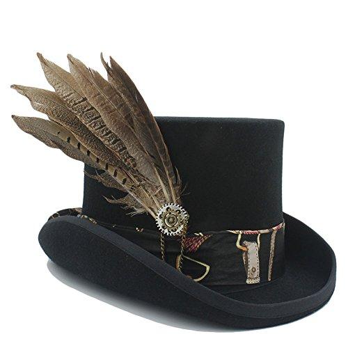 tigte Wolle hohen Zylinder flachen Hut Halloween Hut Hochzeit Hatt mit Zahnrad Feder Top Hut für Frauen und Männer (Color : 1, Size : 55cm) (Diy Halloween Kostüme Schwarz Und Weiß)