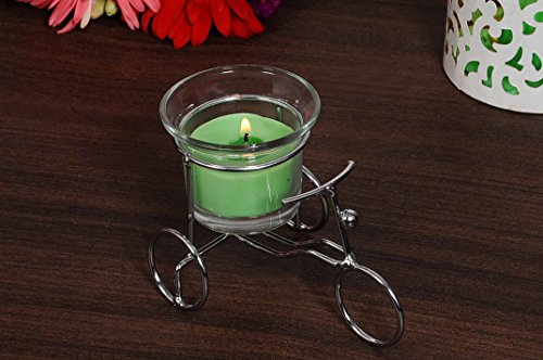 Cycle Candle Stand With One Glass Candle Cum Home Decor ( Green )
