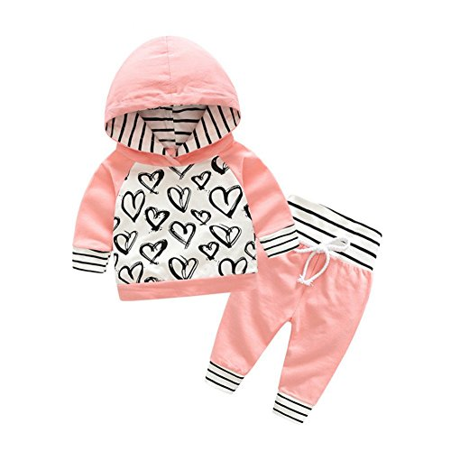 Doubleer Kinder Baby Mädchen Sweatshirt Set Langarm Hoodie Liebe Herz Print Tops Hosen Trainingsanzug (Herz-print-hose)