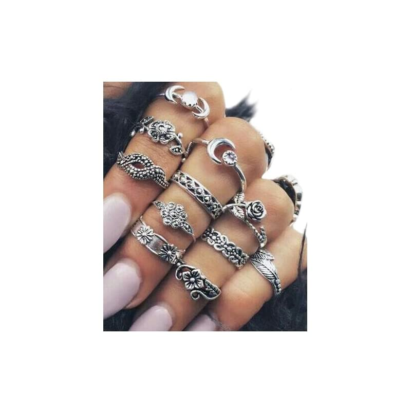 SODIAL(R) 11x Fashion Women's Boho Chic Moon Flowers Rose Jade Antique Midi Rings Set Jewelry Accessories Silver