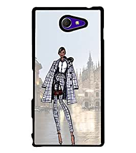 Smart Dressed Women 2D Hard Polycarbonate Designer Back Case Cover for Sony Xperia M2 Dual :: Sony Xperia M2 Dual D2302