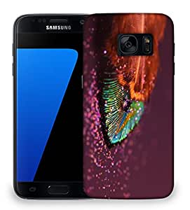 Snoogg peacock feather drops Designer Protective Back Case Cover For Samsung Galaxy S7 Edge