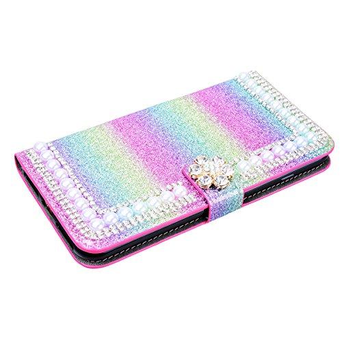 "WE LOVE CASE iPhone 7 / 8 Hülle Wallet Glitzern Diamant Pearl Blumen Im Retro Style Muster iPhone 7 / 8 4,7"" Lederhülle Regenbogen Farbe Handyhülle Flip Case Hülle Leder Klappbar Tasche Elegant Backco Rainbow Color 2"