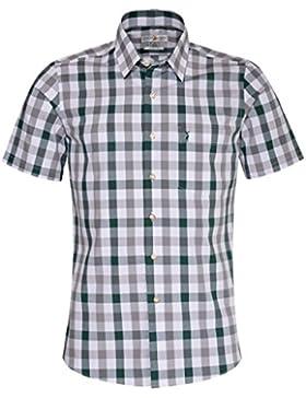 Almsach Kurzarm Trachtenhemd Basti Slim Fit mehrfarbig in Hellgrau und Dunkelgrün inklusive Volksfestfinder