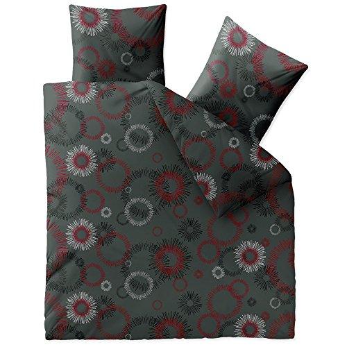 CelinaTex Touchme Mira Biber Bettwäsche 200 x 220 cm 3-teilig anthrazit schwarz weiß rot grau Flauschiger Bettbezug Kreise 5001309