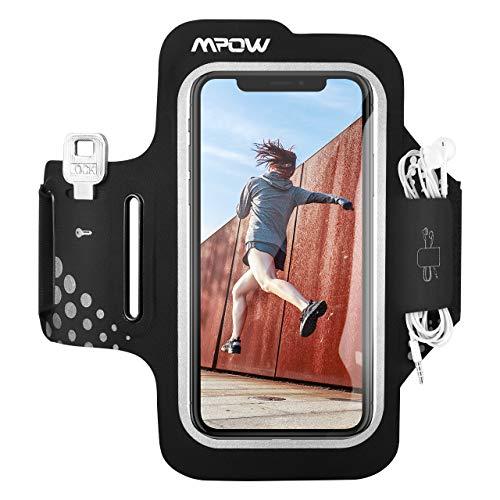 Mpow Fascia da Braccio, Sweatproof Fascia Sportiva da Braccio Portacellulare per iPhone 11 Pro/11/XR/XS/X/8/7, Galaxy S9/S8/S7【Fino a 6,2''】, per Corsa & Esercizi con Supporto Chiave e Tasca per Cart