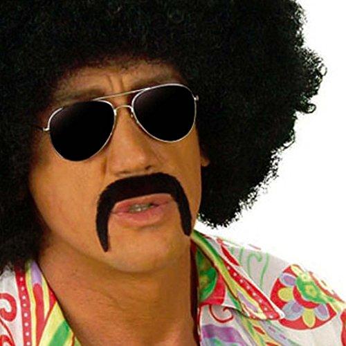 (70er Jahre Schnurrbart Mexikaner Bart schwarz Mexiko Mustache Kunstbart Bartattrappe Oberlippenbart Hippie Kunsthaar Moustache Schnauzer Falscher Herrenbart Männerbart Mexikanerbart Party Oliba Schnauzbart Karneval Kostüm Zubehör)
