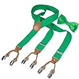 HBF Hosenträger mit den 6 starken Clips und Fliege KIT mehrfarbig elastisch Y-formoig Länge für Damen und Herren Playshoes in verschiedenen Designs (Grün)