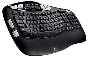 Logitech Wireless Keyboard K350, US RF sans fil Noir clavier - claviers (US, RF sans fil, Noir)