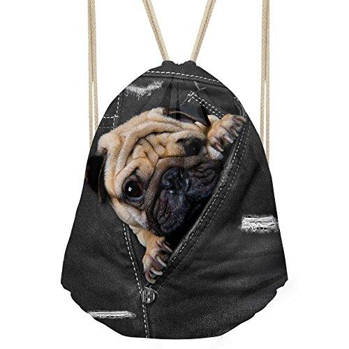 Showudesigns Denim Animal schwarz Kordelzug Tasche Outdoor Reisen Rucksack für Kinder Geschenk M Mop