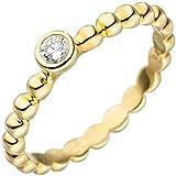 JOBO Damen Ring Kugel 925 Sterling Silber gold vergoldet 1 Zirkonia Kugelring Größe 62