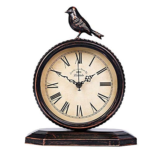 DZBMY Relojes de Escritorio Reloj de Mesa Rústico Vintage Iron ...