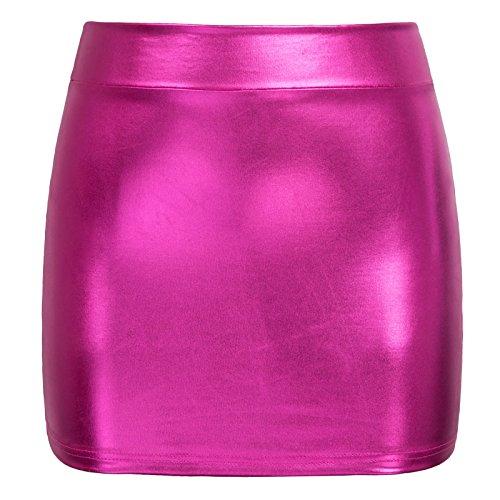 Women Stylish Wet Look Pull On Bleistift Röcke Einfarbig Deep Pink S - Familie Womens Pink T-shirt