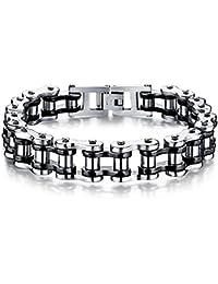 Bracelet en acier inoxydable pour homme Bracelet en chaîne pour cycliste moto Bracelet Cool Link Rock Band de Jerocal, 8,4 pouces
