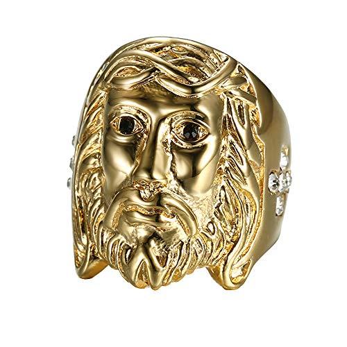 UMtrade Jahrgang Herren Edelstahl Strass Kreuz Jesus Gesicht Ringe Gold