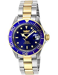 invicta watches shop amazon uk invicta men s pro diver automatic watch blue dial chronograph display and silver gold stainless steel