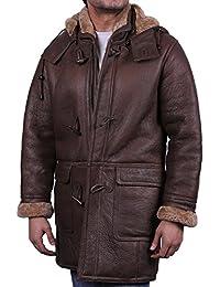 Herren Braun Warmer Winter Echt lammfell Schaffell Leder Duffle Coat