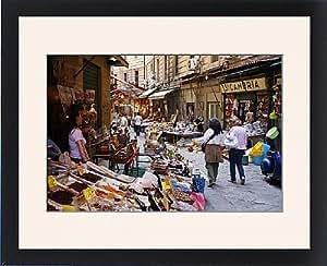 Tableau encadré Vucciria de marché, Palermo, Sicile, Italie, Europe