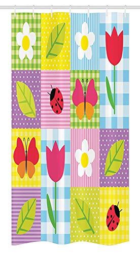 Yeuss Ladybugs Stall Duschvorhang, Frühlingsblumen Schmetterlinge Marienkäfer auf Polkadot Kariertes Muster Kinder Kunst, Stoff Badezimmer Dekor Set mit Haken, Blau Grün Rosa -