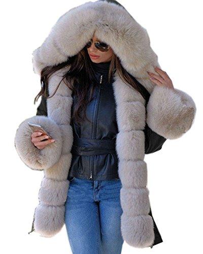 Roiii Winter Frauen Parka Jacken Rose Schatten Mantel Schwarz Schatten Faux Pelz Kapuzen Outwear über Mantel EU PLUS GRÖSSE 36-44-50 (38/40, SCHWARZER)
