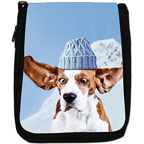 Beagle Cane Medio Nero Borsa In Tela, taglia M Mountain Climbing Beagle Dog