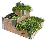 pur' Garden 3760217461847orto Milos Larice angolo Metallo, Legno Naturale, 110x 22x 22cm