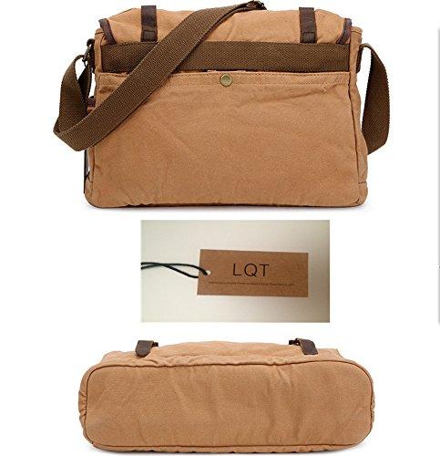 LQT bandouiere-Zaino da scuola, borsa in tela, 40 x Messenger, Borsa a tracolla unisex, stile classico/retrò, modello militare, Kaki (Beige) - FBG-0026-kaki Kaki