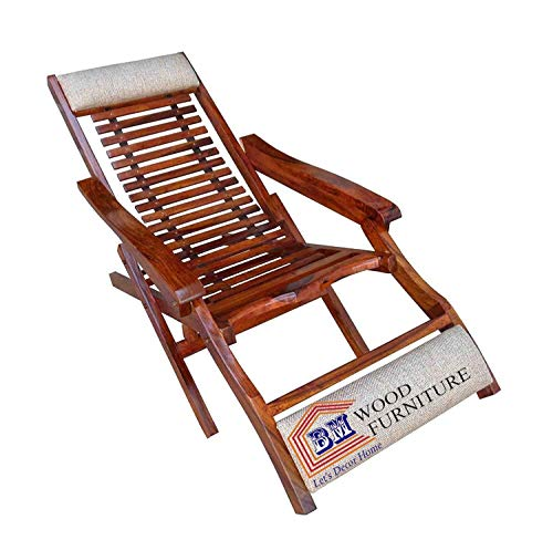 BM WOOD FURNITURE Sheesham Wood Folding Relaxing Beach Chair   Recliner/Reclining   Foldable Easy Chair   with Arm Rest   Natural Brown Finish