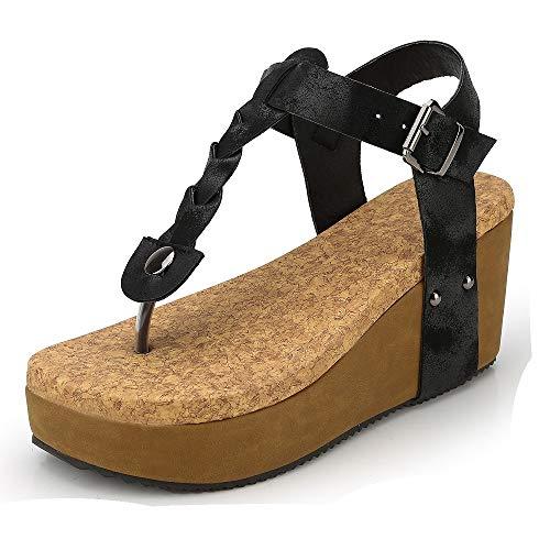 Sandali donna zeppa eleganti bassi plateau aperti romano boemia espadrillas flat mare gladiatore con tacco estivi scarpe ciabatte nero beige 35-43 bk43