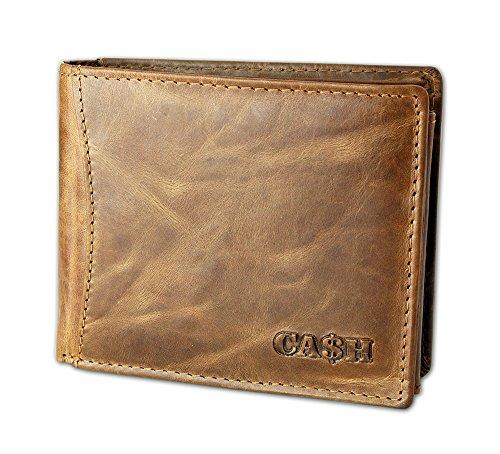 CA$H Herren Portemonnaie Geldbörse Wallet Brieftasche 100% Leder braun Portmonee Querformat Softleder auch in schwarz (5606) (Biker Wallet Tri-fold)