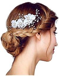 Copricapo da sposa Fatti a mano Elegante Retro Elegante da donna Fiori  Pettine da sposa Perline c74830e1ebed