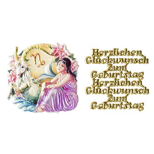 Ideen mit Herz 2 Wachsornamente | 8 x 8 cm | Sternzeichen & Herzlichen Glückwunsch | farbig, geprägt | Kerzenkunst | Kerzenverzierung | Horoskop | Geburtstag (Steinbock)