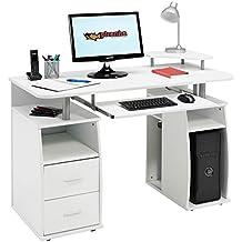 Escritorio para ordenador con estantes, armario y cajones para la oficina en casa en color