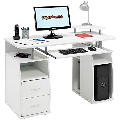 Computer-Schreibtisch mit Regalen, Schrank und Schubladen fürs Home Office, mit weißem Holzmaserung Effekt–Piranha Möbel Tetra PC 5s (Weißen Schreibtisch Computer)