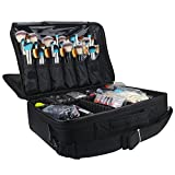 Travelmall Profi-Kosmetikkoffer für die Reise, dreischichtig, 41,9 x 31 x 14 cm, Schultergurt verstellbar, für Make-up-Pinsel, Styling-Tools, Maniküre-Zubehör (black-L)