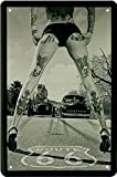 Route 66 pinup / pin up sexy girl blechschild erotik metallsign Tattoo with Hot Rod Car Auto