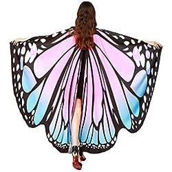 Alas De Mariposa Chal Mariposa Mujer Accesorio Traje Nymph Pixie Cosplay Partido (Polvo Azul)