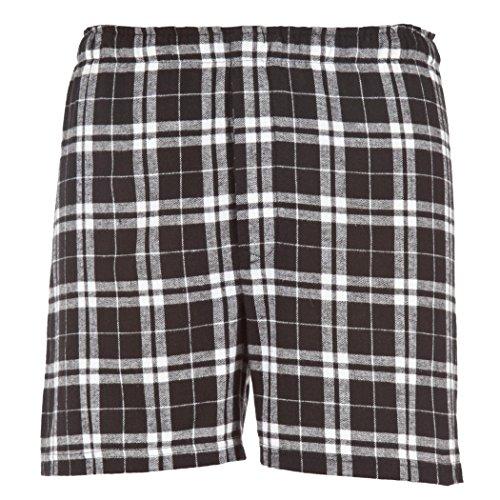 Boxercraft Herren Baumwolle Flanell Plaid Boxer Sleep Shorts Gr. X-Large, schwarz / weiß (Flanell-boxer Weiß)