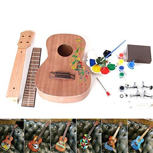 Ukulele in legno da 58,4 cm, assemblato a mano, per fai da te, in mogano, con tastiera a 4 corde, con custodia per bambini e principianti