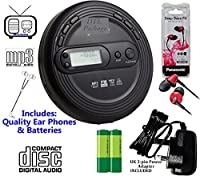 Premium Compact Portable Retro CD Discman CD Player, FM Radio, CD, CD-R, CD-RW & MP3 CDs (Audio Books, Bookmark Pause) Large Digital Display, Bass Tone Boost (Black - Inc Batteries, Mains Power Supply, Higher Volume & Bass Earphones (Red)