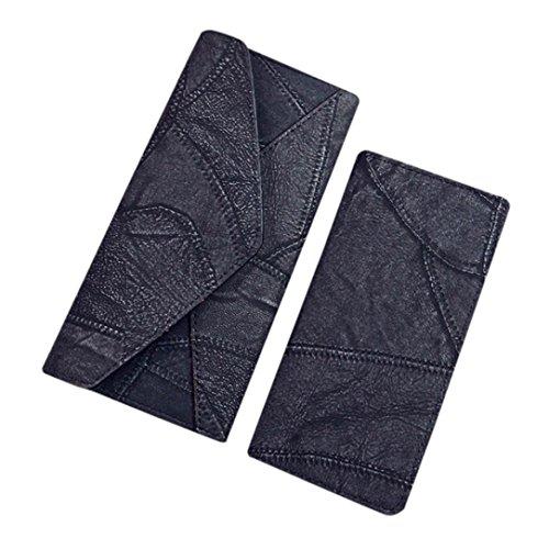 Longra 2pcs moda donne: cucitura portafoglio frizione titolare della carta borsa + borsa piccola Nero